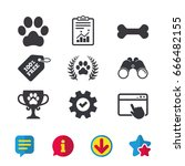 pets icons. dog paw sign....