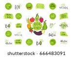 collection of vector eco  bio... | Shutterstock .eps vector #666483091