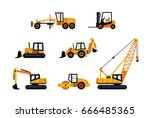 construction vehicles   modern... | Shutterstock .eps vector #666485365
