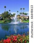 view of golf resort in palm...   Shutterstock . vector #66648613