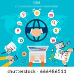 crm   customer relationship... | Shutterstock .eps vector #666486511