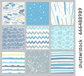 hand drawn pattern collection.... | Shutterstock .eps vector #666488989