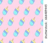 vector seamless ice cream... | Shutterstock .eps vector #666489445