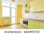 kitchen interior in modern... | Shutterstock . vector #666490735