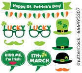 irish party vector photo booth... | Shutterstock .eps vector #666495307