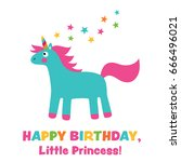 birthday vector card for a girl ... | Shutterstock .eps vector #666496021