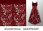flower embroidery on dress mock ... | Shutterstock .eps vector #666496369
