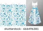 flower embroidery on dress mock ... | Shutterstock .eps vector #666496381