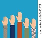 voting hands. election concept. ... | Shutterstock .eps vector #666499771