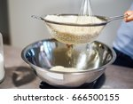 making macaron batter   almond... | Shutterstock . vector #666500155