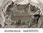 bohemian style silver jewelry... | Shutterstock . vector #666505291