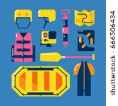 rafting icons set. main rafting ... | Shutterstock .eps vector #666506434