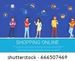 shopping online concept vector... | Shutterstock .eps vector #666507469