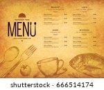 restaurant menu design. vector... | Shutterstock .eps vector #666514174