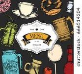 restaurant menu design. vector... | Shutterstock .eps vector #666514204