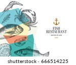 fish and seafood restaurant... | Shutterstock .eps vector #666514225