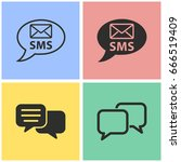 sms vector icon with long...   Shutterstock .eps vector #666519409