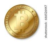 realistic 3d golden bitcoin... | Shutterstock .eps vector #666526447