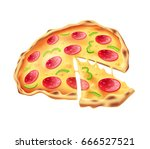 pizza   isolated on white... | Shutterstock . vector #666527521