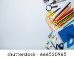 back to school. items for the... | Shutterstock . vector #666530965