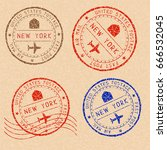 new york mail stamps collection.... | Shutterstock . vector #666532045