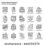 Social media strategy, square icon set. The illustrations are a vector, editable stroke, thirty-two by thirty-two matrix grid, pixel perfect files. Crafted with precision and eye for quality.