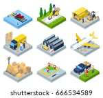 isometric delivery concept.... | Shutterstock .eps vector #666534589