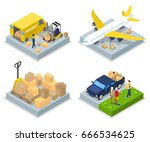 isometric delivery concept.... | Shutterstock .eps vector #666534625