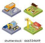isometric construction industry.... | Shutterstock .eps vector #666534649