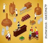 isometric brewery beer... | Shutterstock .eps vector #666534679