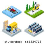 isometric delivery concept.... | Shutterstock .eps vector #666534715