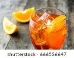 aperol spritz cocktail in glass ... | Shutterstock . vector #666536647
