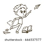 naughty boy throwing a paper... | Shutterstock .eps vector #666537577