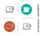 teacup icon. flat design ... | Shutterstock .eps vector #666538597