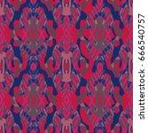 ikat seamless pattern design... | Shutterstock . vector #666540757