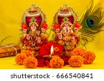 the lord ganesha and goddess... | Shutterstock . vector #666540841