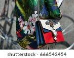 milan   june 18  woman with... | Shutterstock . vector #666543454