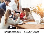 business people analyzing... | Shutterstock . vector #666549025