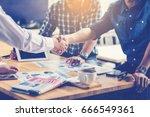 business people hand shake in... | Shutterstock . vector #666549361