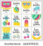 set of summer holiday cards.... | Shutterstock .eps vector #666549631