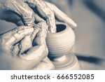 girl sculpts in clay pot... | Shutterstock . vector #666552085