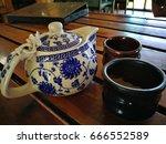 breakfast  pot tea and cups   Shutterstock . vector #666552589