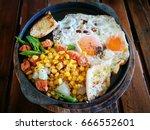 breakfast  panned egg  thai food   Shutterstock . vector #666552601