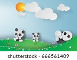 paper art of pandas playing in... | Shutterstock .eps vector #666561409