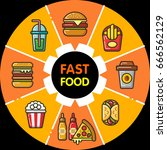 infographic set of fast food... | Shutterstock .eps vector #666562129