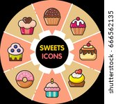 infographic set of sweets icons ... | Shutterstock .eps vector #666562135