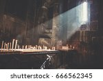 candles burning in armenian... | Shutterstock . vector #666562345