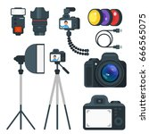 vector flat style set of photo... | Shutterstock .eps vector #666565075