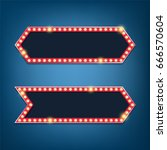 electric bulbs billboard. retro ... | Shutterstock .eps vector #666570604