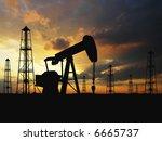pumps over orange sky | Shutterstock . vector #6665737